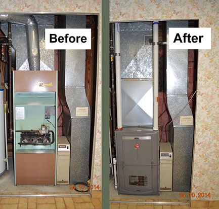 Rheem furnace installation  after and before